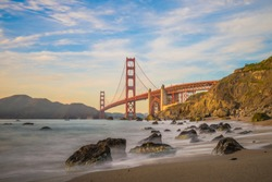 Long exposure when the sun goes down to the Golden Gate Bridge of San Francisco