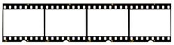 long film strip, blank photo frames, free space for your pictures, real high-res 35mm film strip scan with signs of usage on white background
