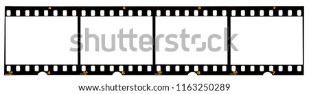 Photo of  long film strip, blank photo frames, free space for your pictures, real high-res 35mm film strip scan with signs of usage on white background