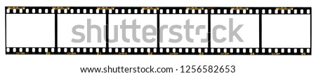 Photo of  long film strip, 6 blank photo frames, free space for your pictures, real high-res 35mm film strip scan with signs of usage on white background, no or empty movie strip, interesting border