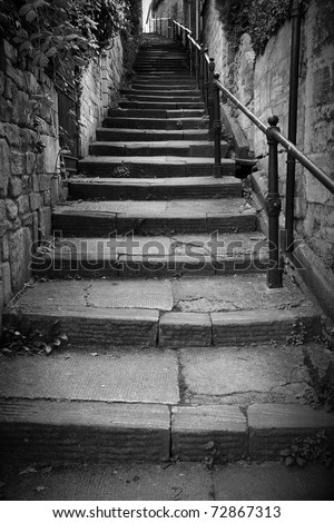 Long Flight of Old Stone Steps Leading up a Dark Alleyway