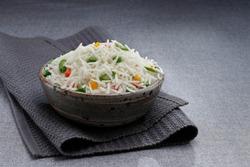 Long grain Indian Basmati Rice in a bowl.
