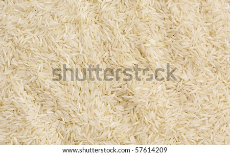 Long grain white rice background.