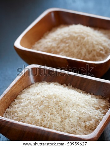 Long grain white rice in the wooden bowl,shallow focus
