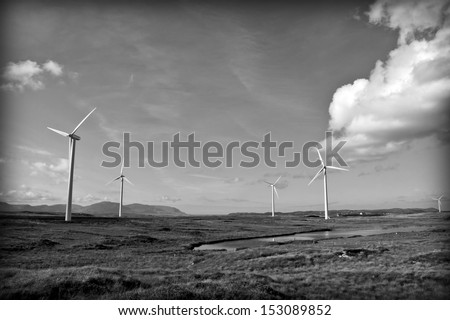 long grass and bogland with wind turbines in the background Ireland as black and white