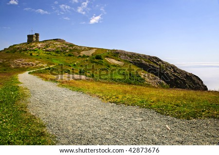 Long gravel path to Cabot Tower on Signal Hill in Saint John\'s, Newfoundland