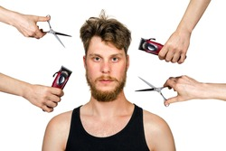 long hair freak crazy man hold scissors, trimmer and guy want cut his hair. Concept for barber shop. isolated on white.