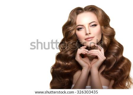 royalty free long hair portrait of beautiful woman