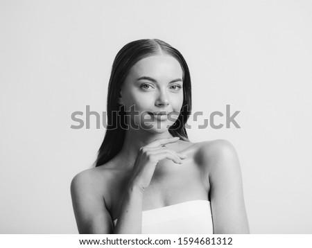 Long hair woman monochrome beauty model portrait with long hair