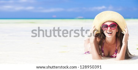 long haired girl in bikini on tropical boracay beach