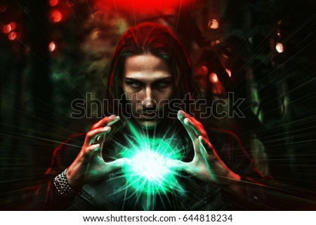 Long haired white male with a mystical glowing orb to signify power, magic, spirituality and so forth
