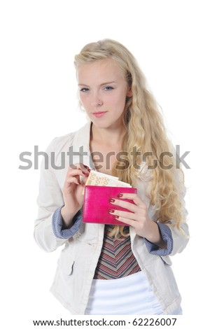 long-haired young blonde woman gets out of the bag euro banknotes. Isolated on white