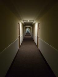 Long hallway of a hotel