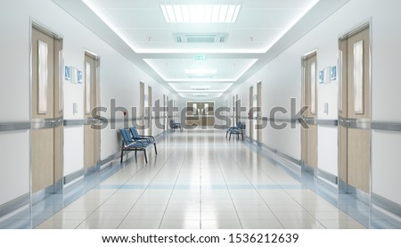 Long hospital bright corridor with rooms and blue seats 3D rendering Foto stock ©