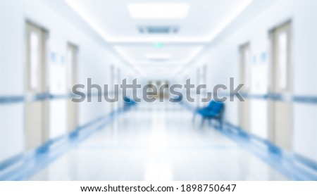 Long hospital bright corridor with rooms and seats 3D rendering