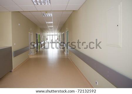 Long hospital  hallway - stock photo