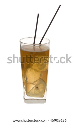 Long Island Iced Tea mixed drink on a white background