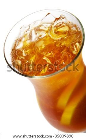 Long Island Iced Tea with Lemon. Isolated on White Background
