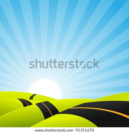 Long Journey Background/ Illustration of a cartoon long road snaking inside spring or summer landscape