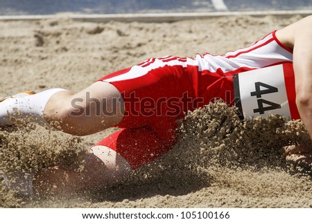 long jumper in the sand box
