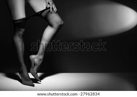 long legs in black stocking