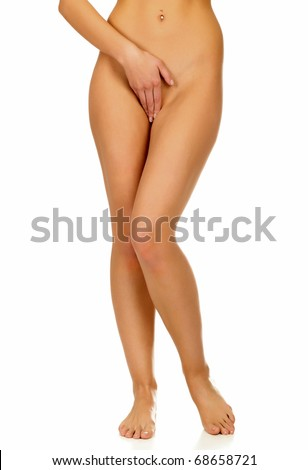Long legs of pretty tanned woman, isolated on white background.
