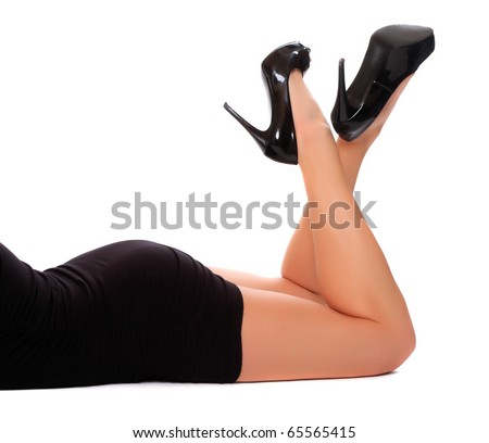 Long legs of relaxed woman.