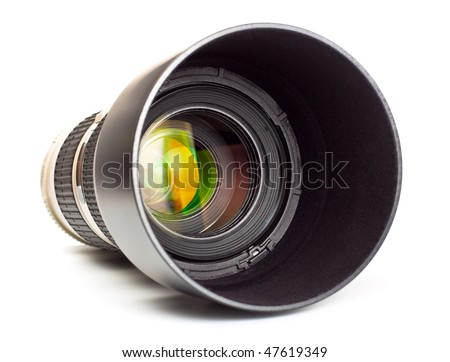long lens with hood isolated on white background