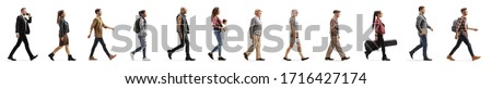 Long line of different profile people walking isolated on white background Photo stock ©