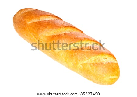 Long loaf bread  on white background