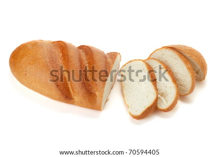 Long loaf sliced bread. Isolated on white - stock photo