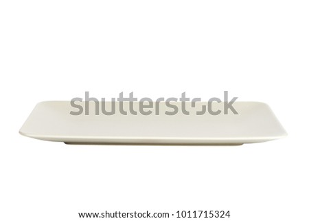 long matte rectangular plate isolated on white background.