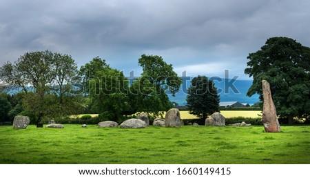 Long Meg and her Daughters Bronze Age Stone Circle at Little Salkeld, Penrith, Cumbria. Stock fotó ©