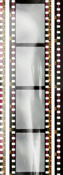 long 35mm negative film strip with empty or blank frames and nice light reflection on the material. cool photo placeholder.