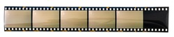 long 35mm photo or film strip type 135 with empty and exposed cells or frames on white background, just blend in your content
