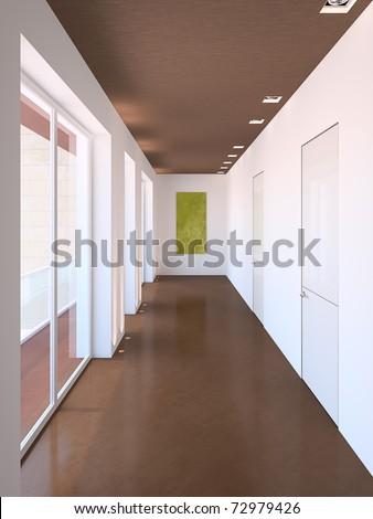 Long modern corridor. 3d render.