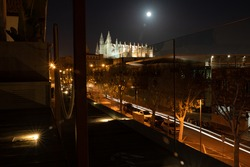 Long night exposure of Palma with the Basilica Cathedral of Santa Maria in the background, Palma de Mallorca, Spain