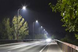 long night street with modern LED street lights