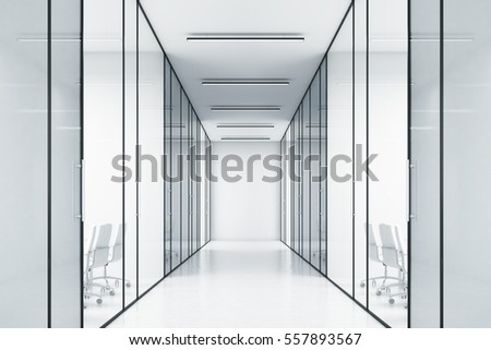 long office corridor with glass ...