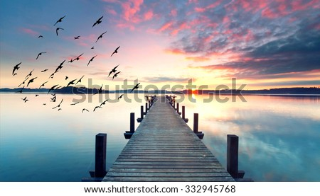 stock photo long pier leading out onto the lake sunrise on lake long way out with fog 332945768 - Каталог - 3d фотообои