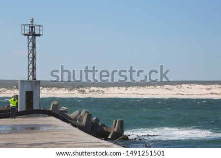 long pier with artificial concrete seawall for a safe haven, view at shoreline with dunes #1491251501