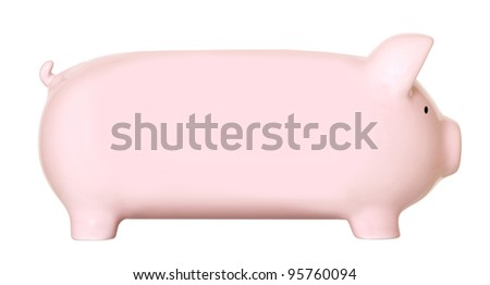 Long pink piggy bank isolated on white