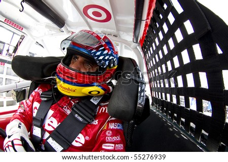 LONG POND, PA - JUNE 04:  Juan Pablo Montoya gets ready to practice for the Gillette Fusion ProGlide 500 race at the Pocono Raceway in Long Pond, PA on June 4th, 2010.