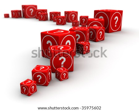 Long queue of big and small question mark cube box 3d illustration