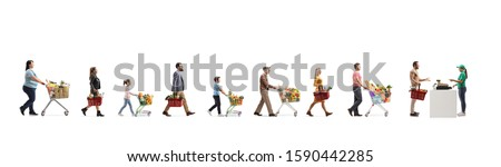Long queue of people waiting at the cash register in a supermarket isolated on white background