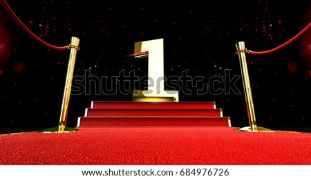 long red carpet between rope barriers with number one on the stair at the end. the first. 1st. 3d rendering
