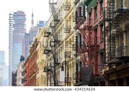 Long row of colorful buildings in the Soho neighborhood of Manhattan, New York City