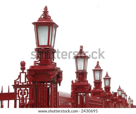 Long row of red lampposts - isolation