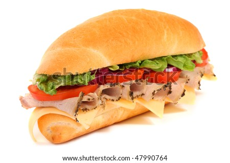 Long sandwich isolated on the white background
