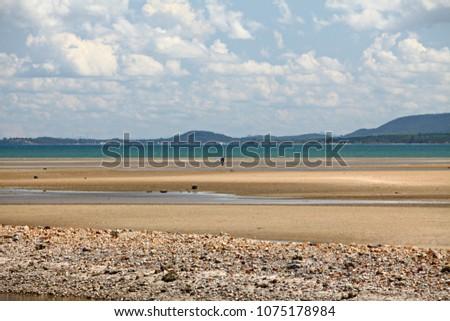 Long sandy beach at Chumphon, There is called Bo Mao Bay or Ao Bo Mao Bay Chumphon, Thailand #1075178984